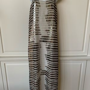 BCBG Maxazria Long Sequin Stripe Racerback Dress